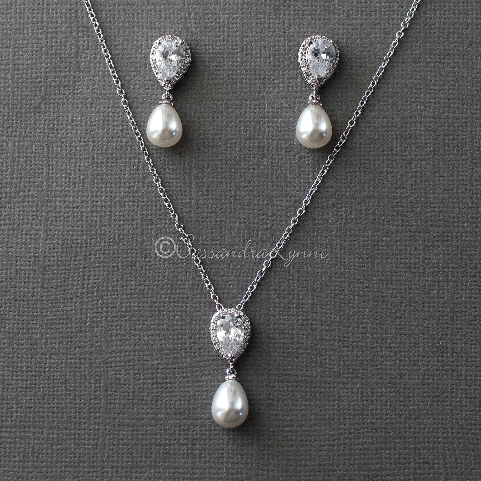 Bridal Necklace Set of Teardrop Pearls and CZ