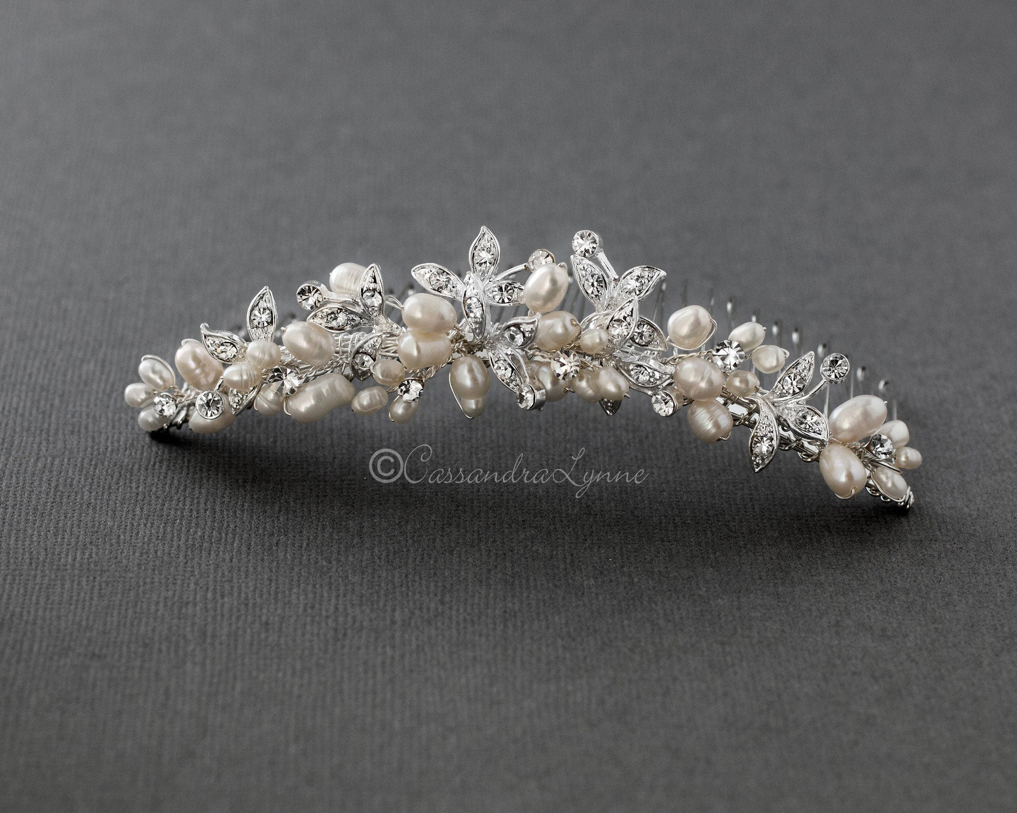 Freshwater Pearl and Crystal Leaf Tiara Comb