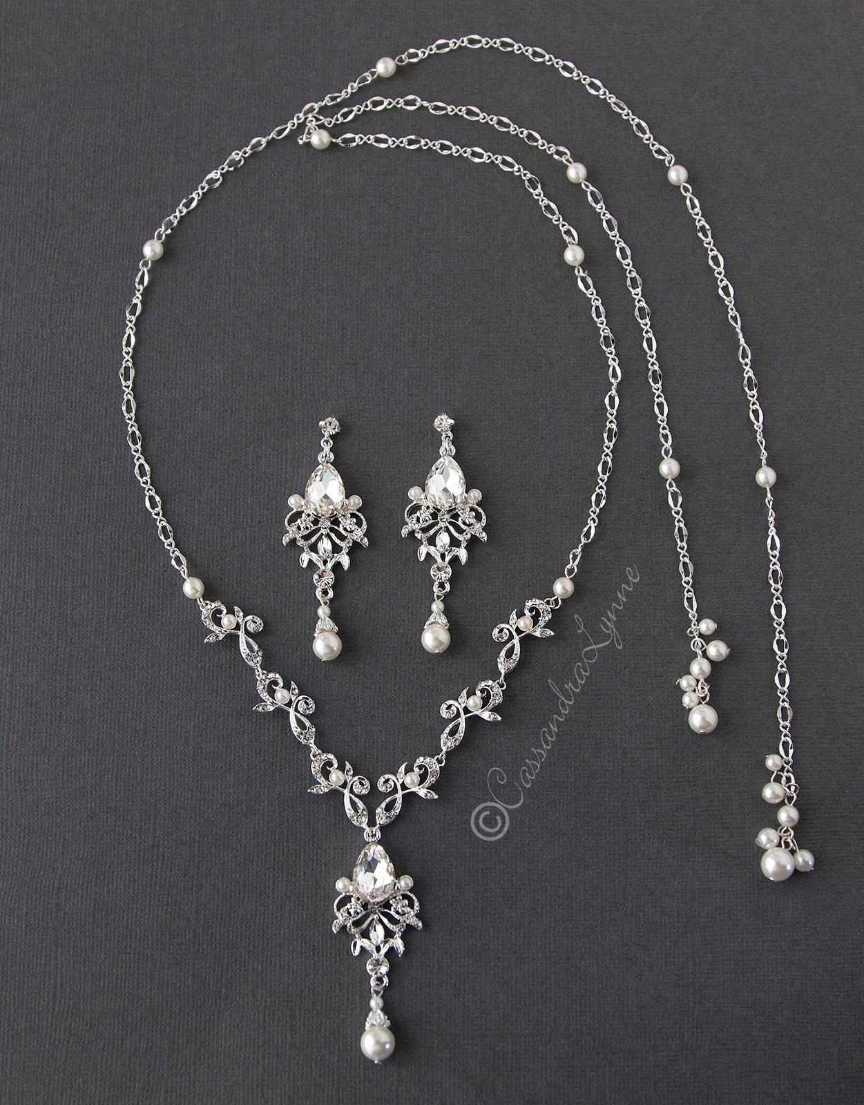 Crystal and Pearl Tie Back Drop Necklace Set