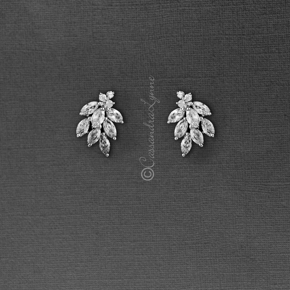 Tiny leaf stud cz earrings