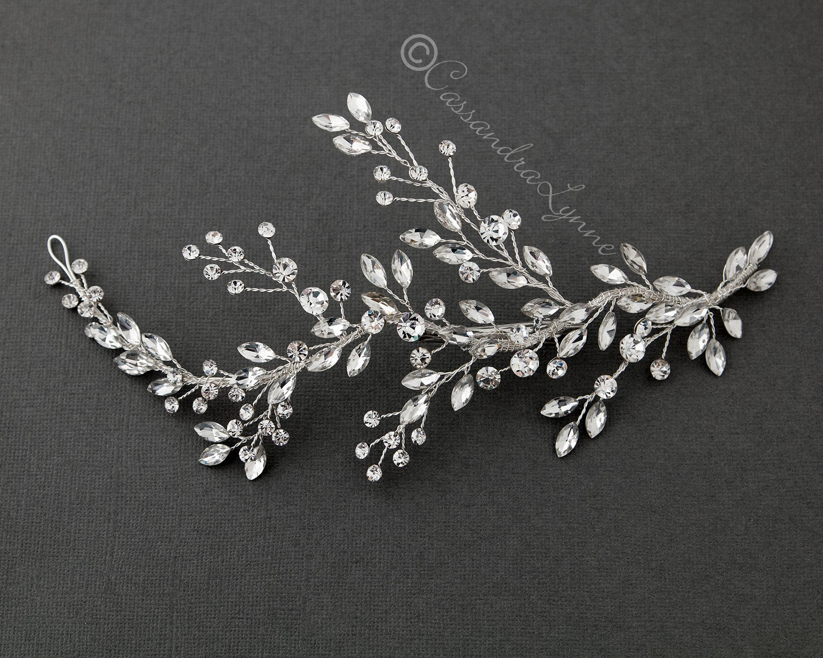 Bridal Hair Vine Clip with Leaf Rhinestones