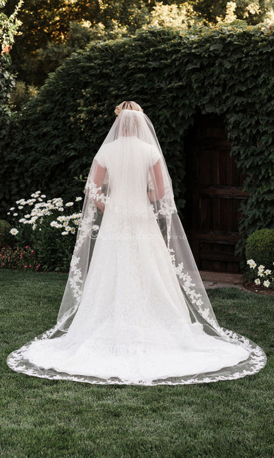 2 Tier Cathedral Veil with Lace Sequins Rhinestones