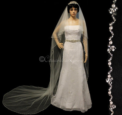 Royal Veil with Bugle Bead Pearl and Crystal Trim
