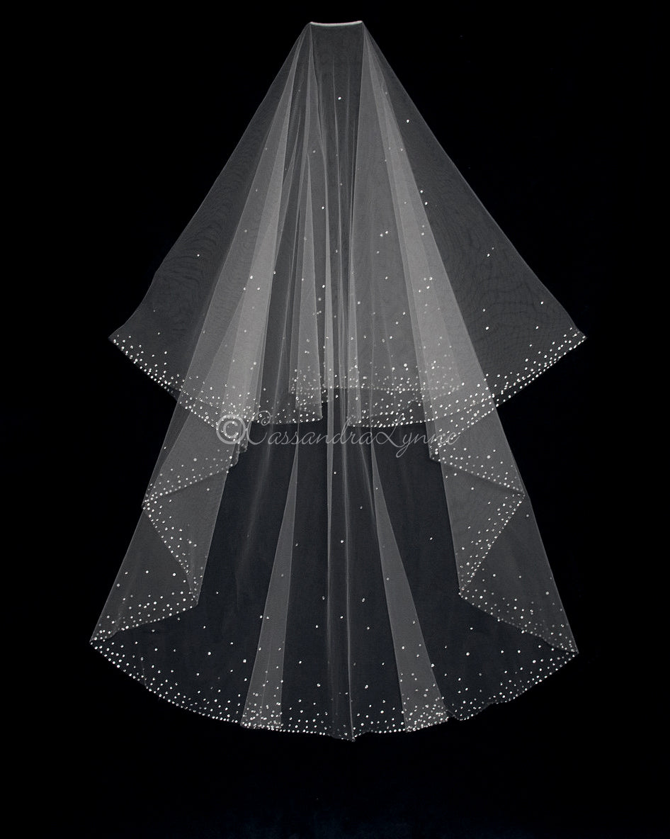 Swarovski Rhinestone Two Layer Floor Circle Veil