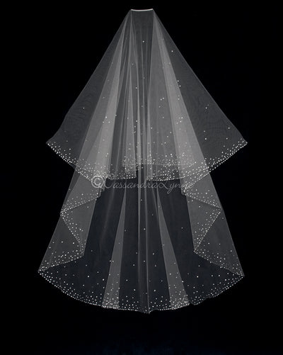 Swarovski Rhinestone Two Layer Chapel Circle Veil
