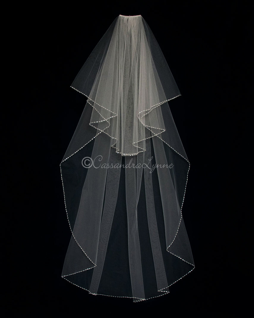 Pearl and Sequin Two Tier Waltz Veil