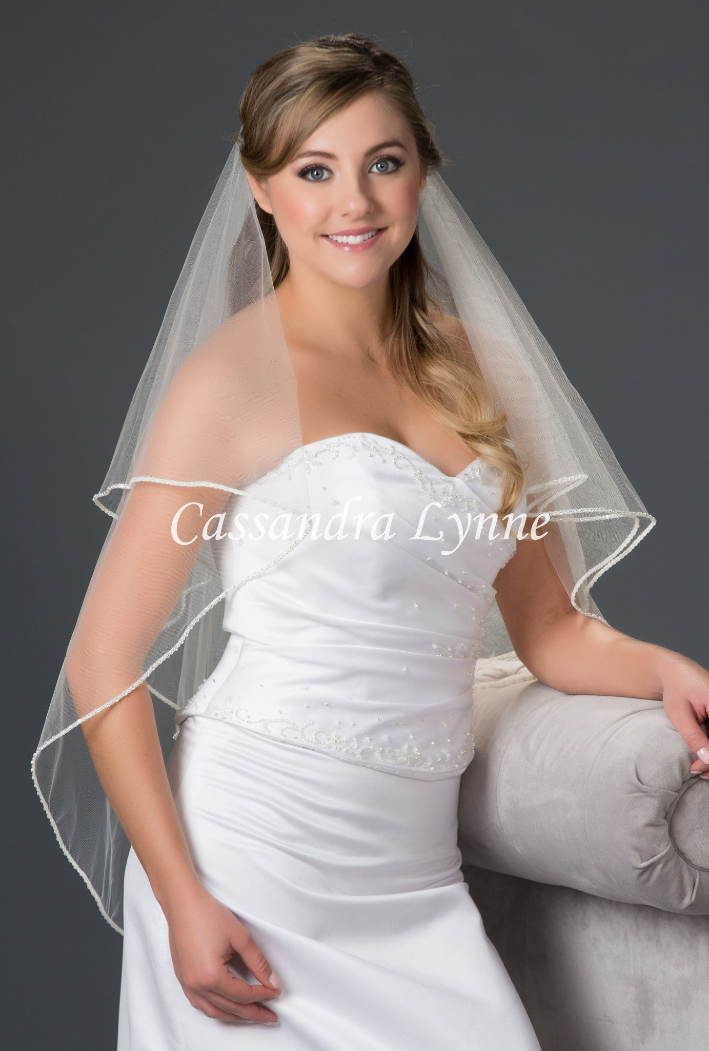 Two Tier Fingertip Bridal Veil with Rhinestone and Pearl Trim
