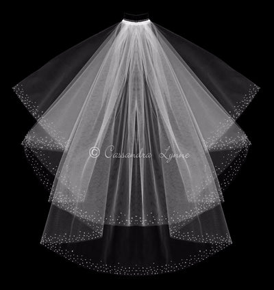 Two layer Wedding Veil with Scattered Edge