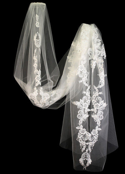 Bridal Veil with Lace Down the Middle