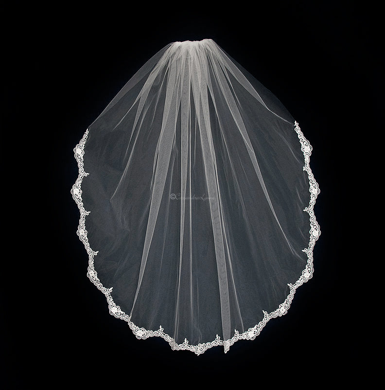 Venise Wedding Veil with Pearls