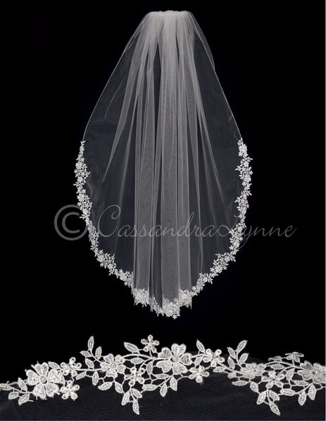 Bridal Veil with Partial Venise Lace Trim and Pearls