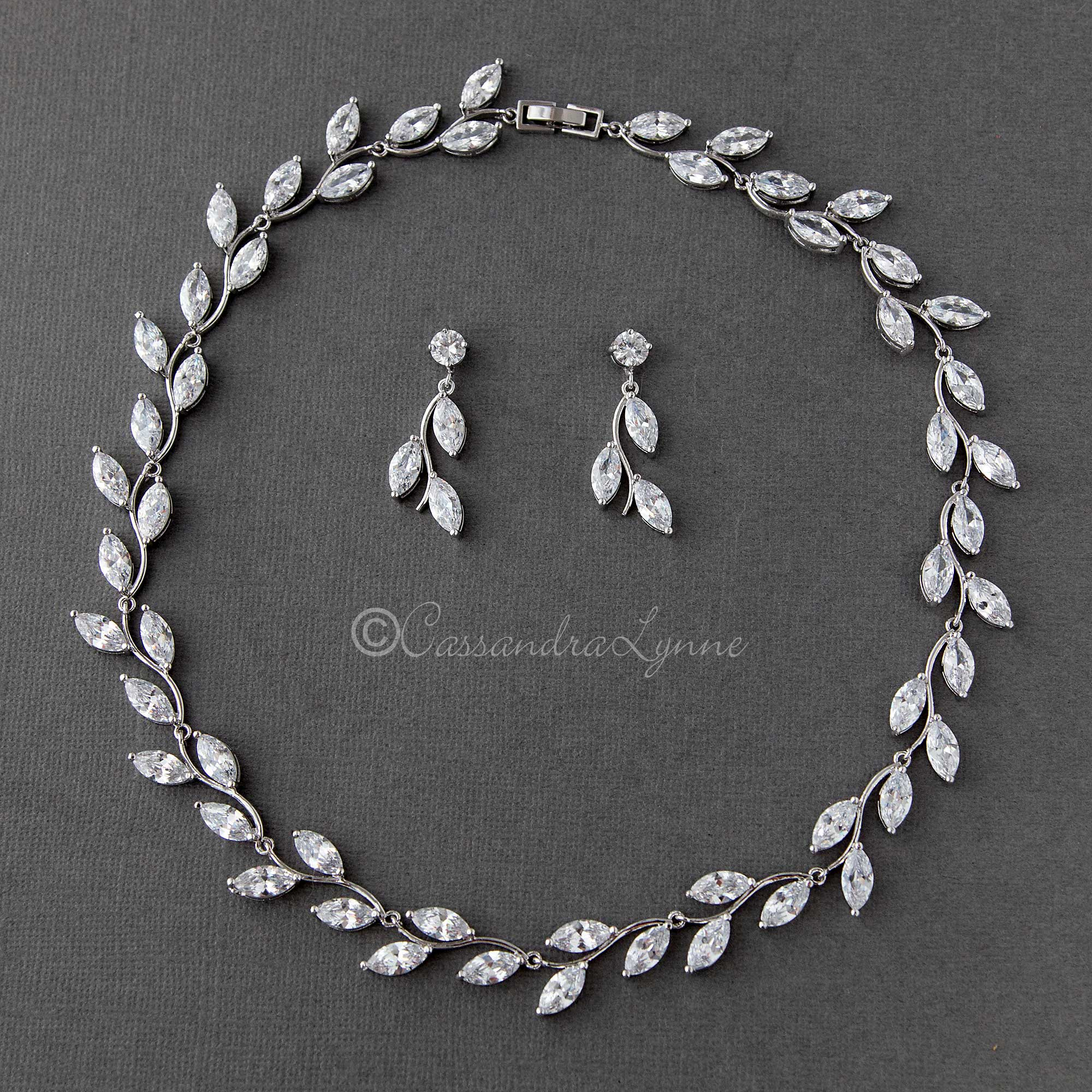 Cubic Zirconia Leaves Vine Bridal Necklace Set