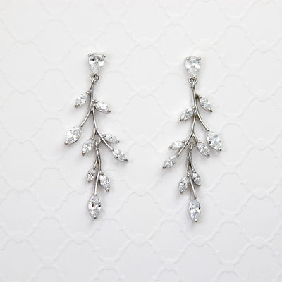 Marquise Wispy Vine CZ Bridal Earrings