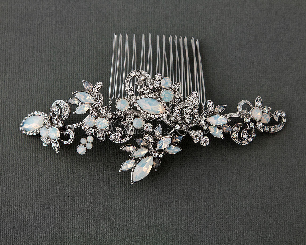 Vintage Wedding Comb with Opal Crystals