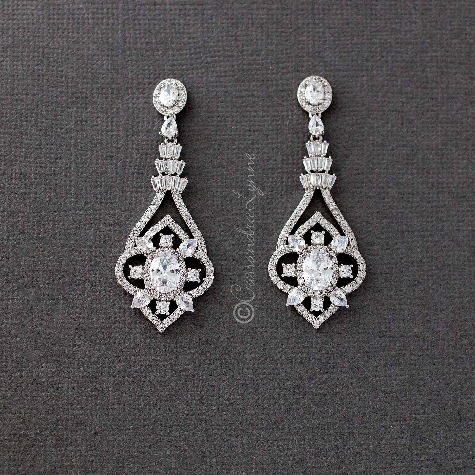 sterling silver vintage wedding earrings