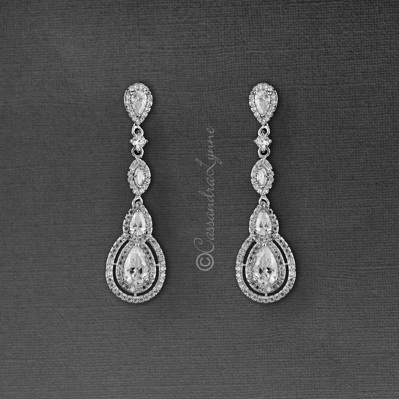 Cubic Zirconia Earrings Pave Teardrop and Marquise