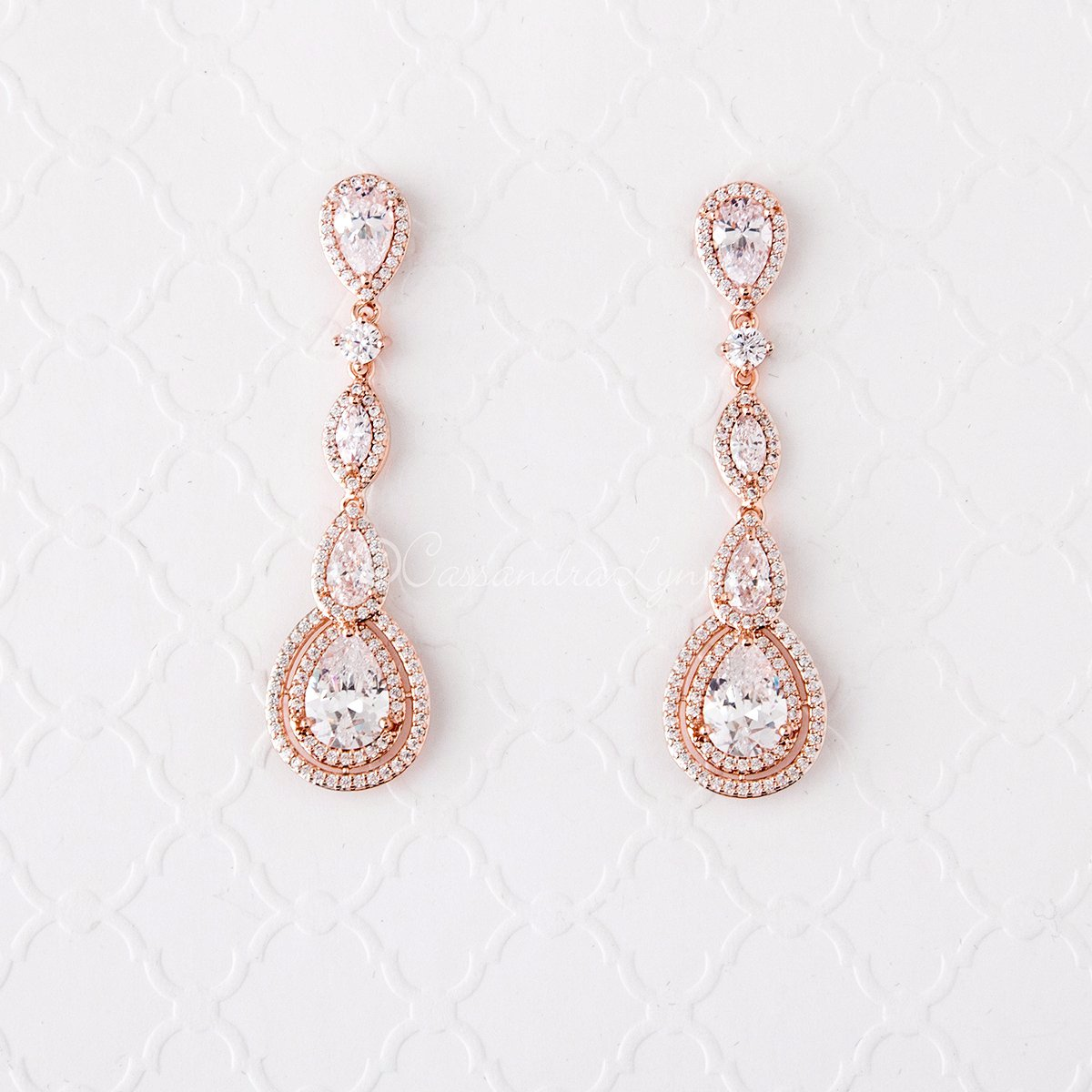 Cubic Zirconia Earrings Pave Teardrop and Marquise Stones Rose Gold