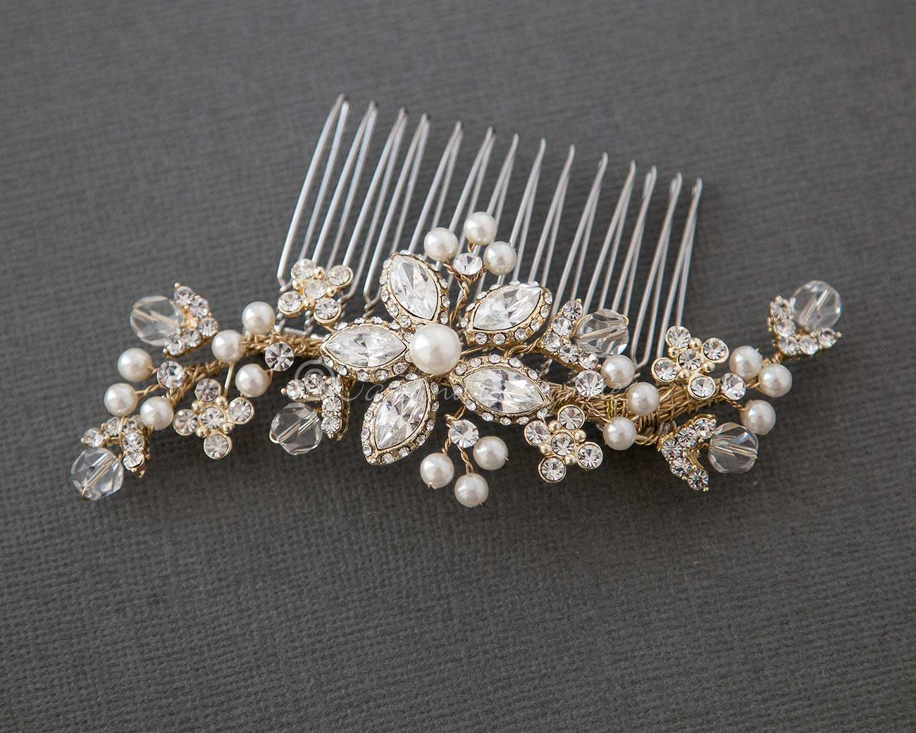 Bridal Pearl Hair Comb with Vintage Marquise Flower Gold