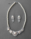 Vintage Jewelry Set of Ivory Pearls and CZ