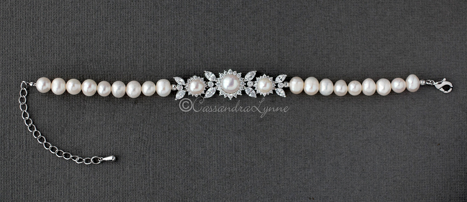 Ivory Pearl Bracelet with CZ Jewels