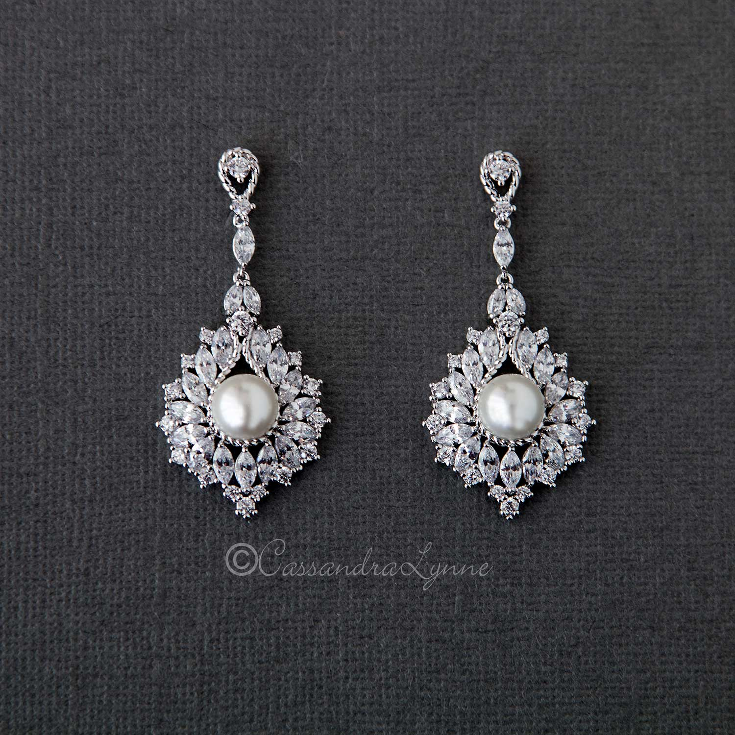 Vintage Pearl Drop Bridal Earrings
