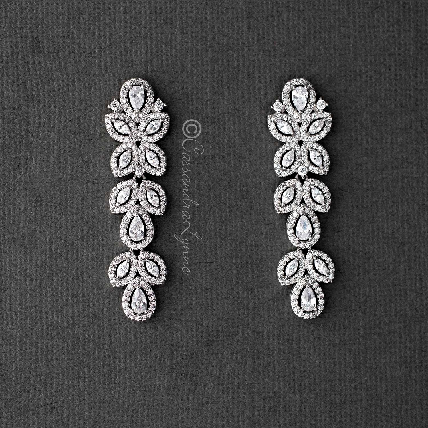 CZ Vintage Styled Dangle Bridal Earrings