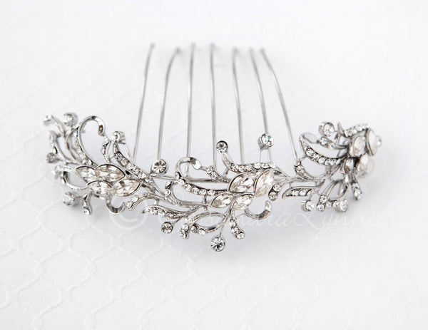 Vintage Wedding Veil Comb with Scrolls