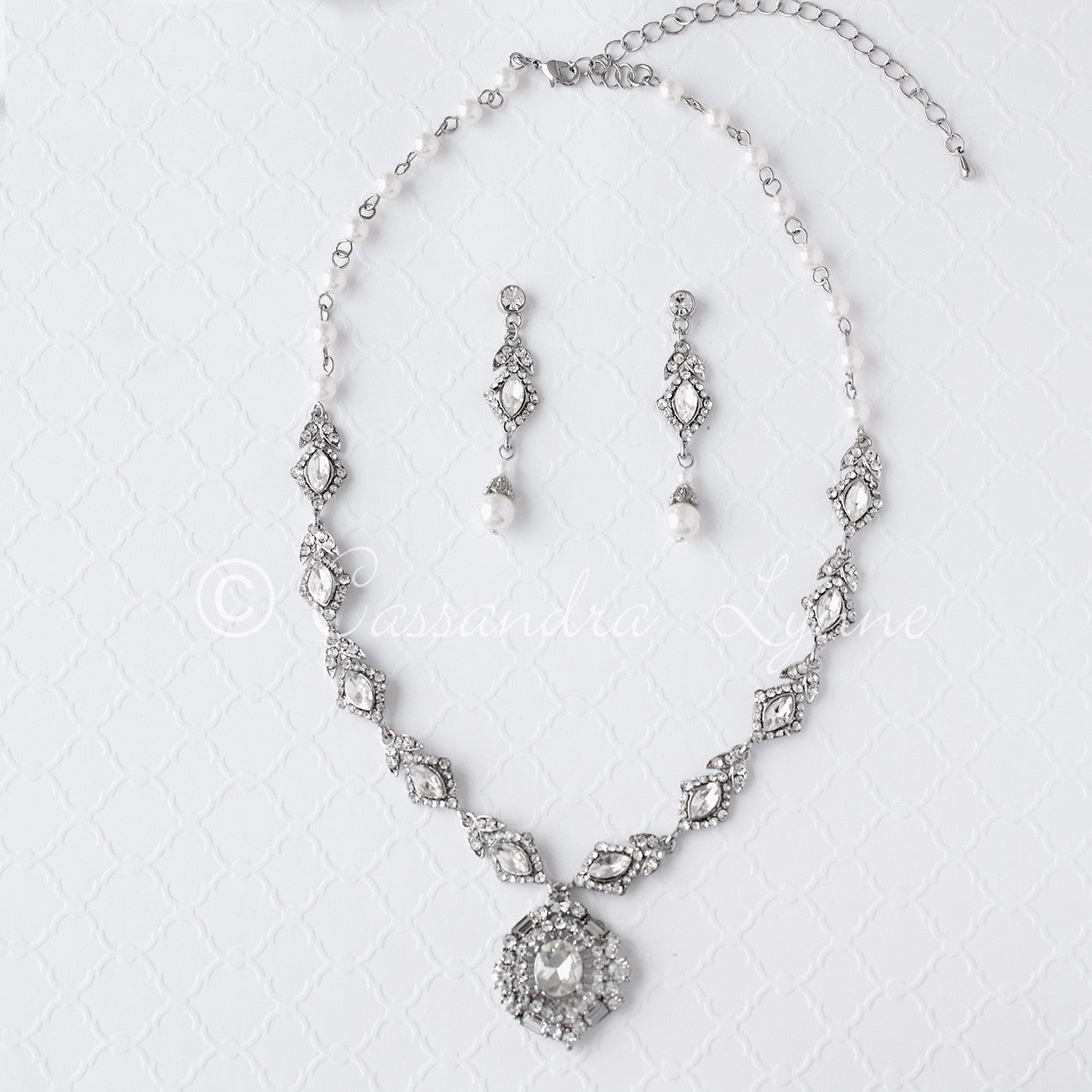 Vintage Wedding Necklace Set of Pearls and Jewels