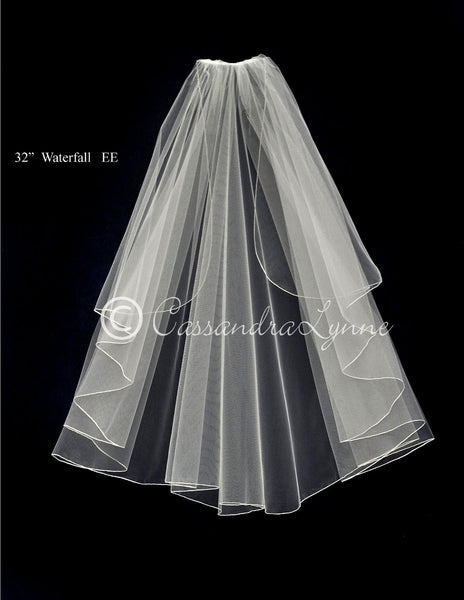 Cascading Waterfall Bridal Veil with Embroidered Edge