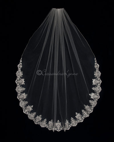 Beaded Alencon Lace Waltz Wedding Veil
