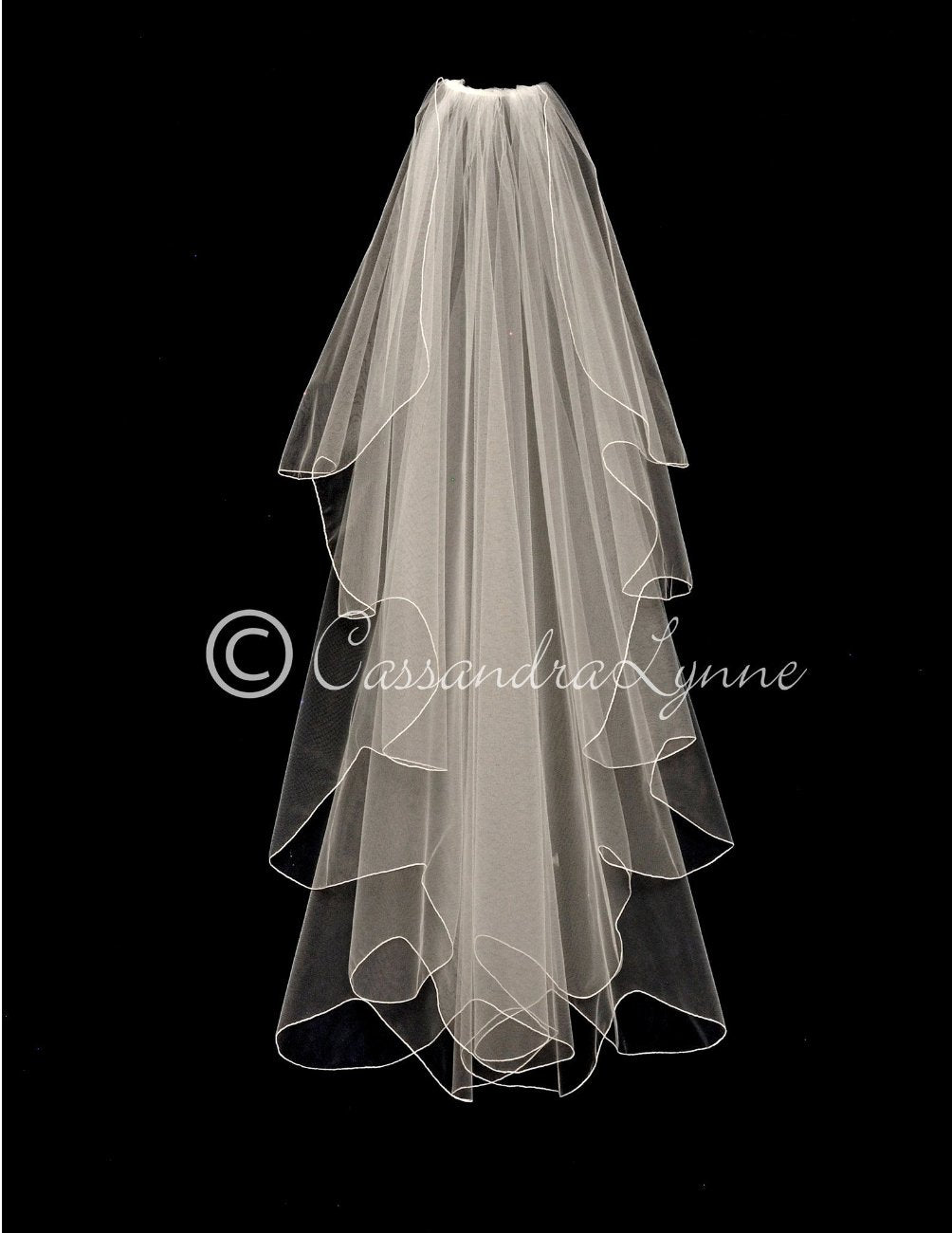 Waltz Length Bridal Veil with Scalloped Waterfall Cut