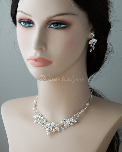 Wedding Jewelry Set of Metal Flowers and Pearls