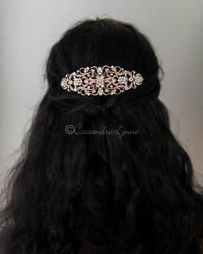 Rose Gold Filigree Bridal Hair Comb