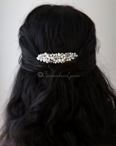 Crystal and Pearl Cluster Bridal Comb