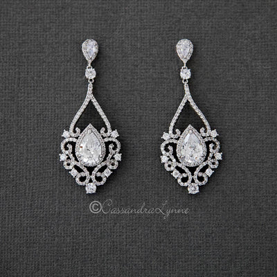 Filigree Wedding Earrings with Pear CZ