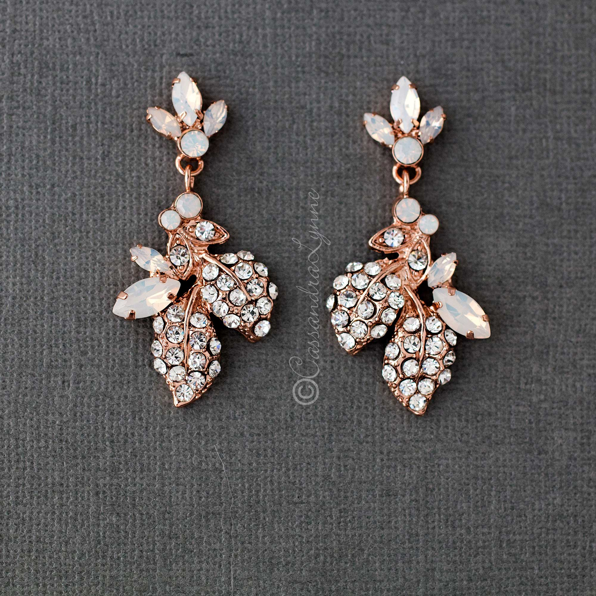 Crystal Leaves Wedding Earrings with Opal Stones