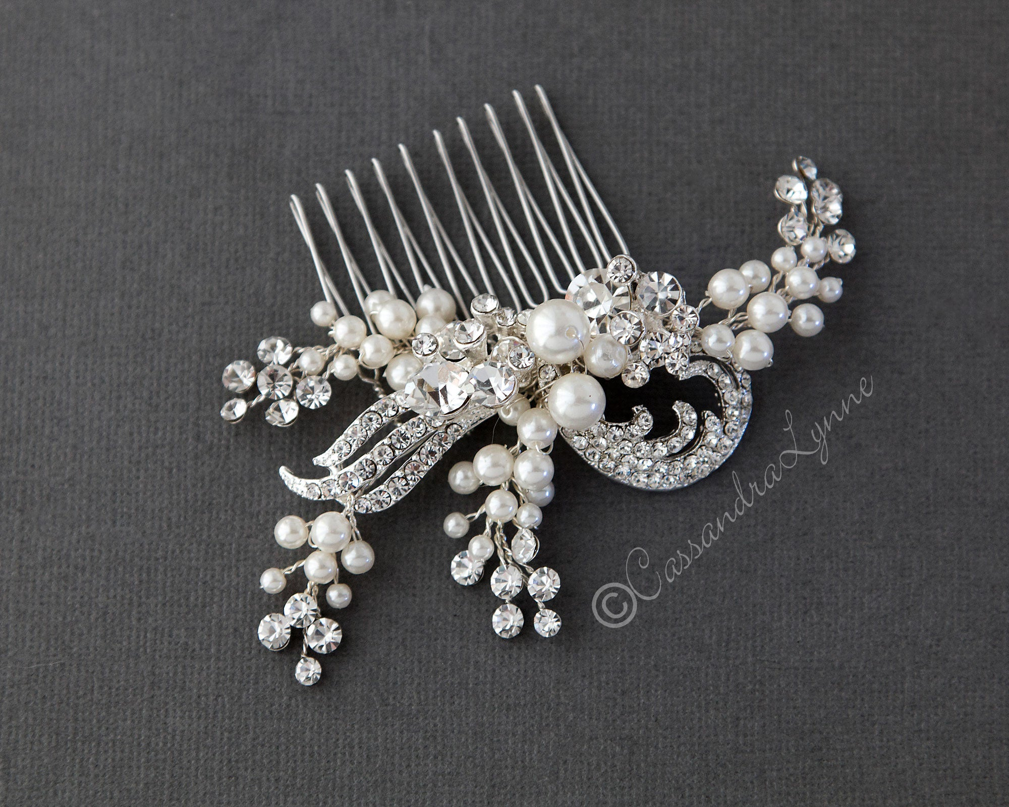 Ivory Pearl Clusters Wedding Comb