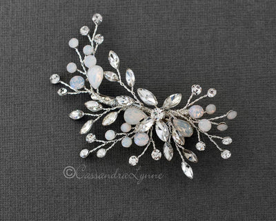 Bridal Hair Pin Set of Opal and Clear Crystals