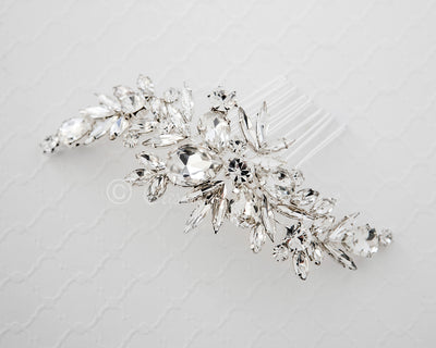 Bridal Comb of Elongated Round and Teardrop Jewels