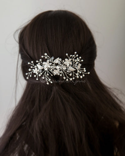 Crystal Bridal Hair Comb with Rhinestone Sprays