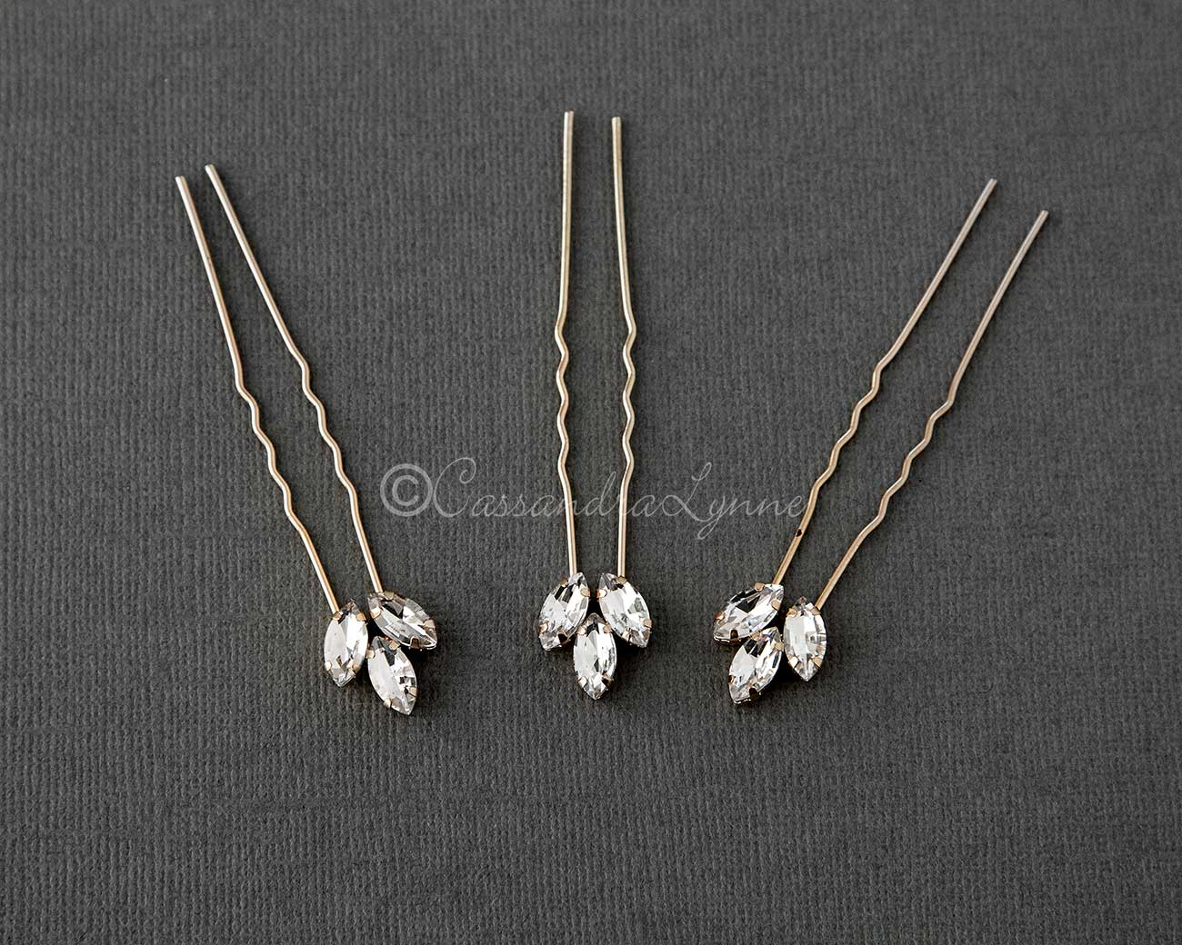 Marquise Wedding Hair Pins Set in Gold