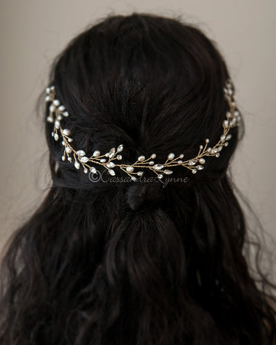 Crystal Wedding Hair Vine with Pearls