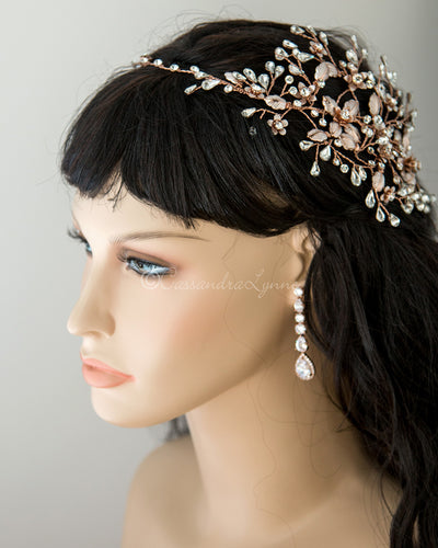 Halo Wedding Headband with Pear Stones