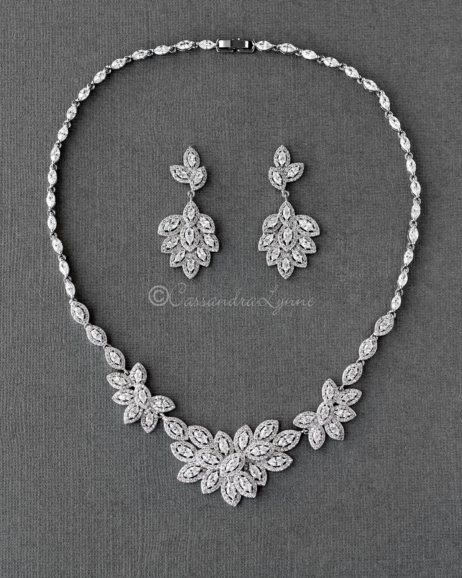 Pave Leaf Cluster Wedding Necklace and Earrings