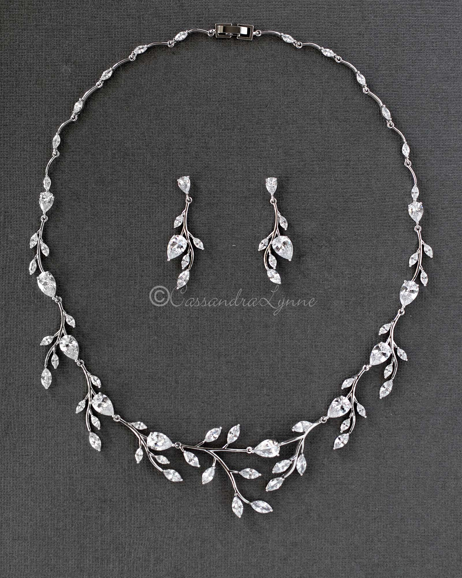 Wedding Necklace and Earrings of Marquise CZ Vines