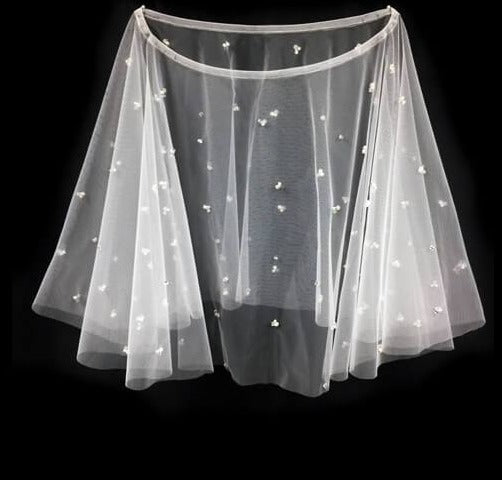 Short Bridal Capelet with Pearls and Beads