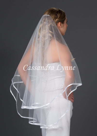 Drop Cut Wedding Veil with Satin Ribbon Trim