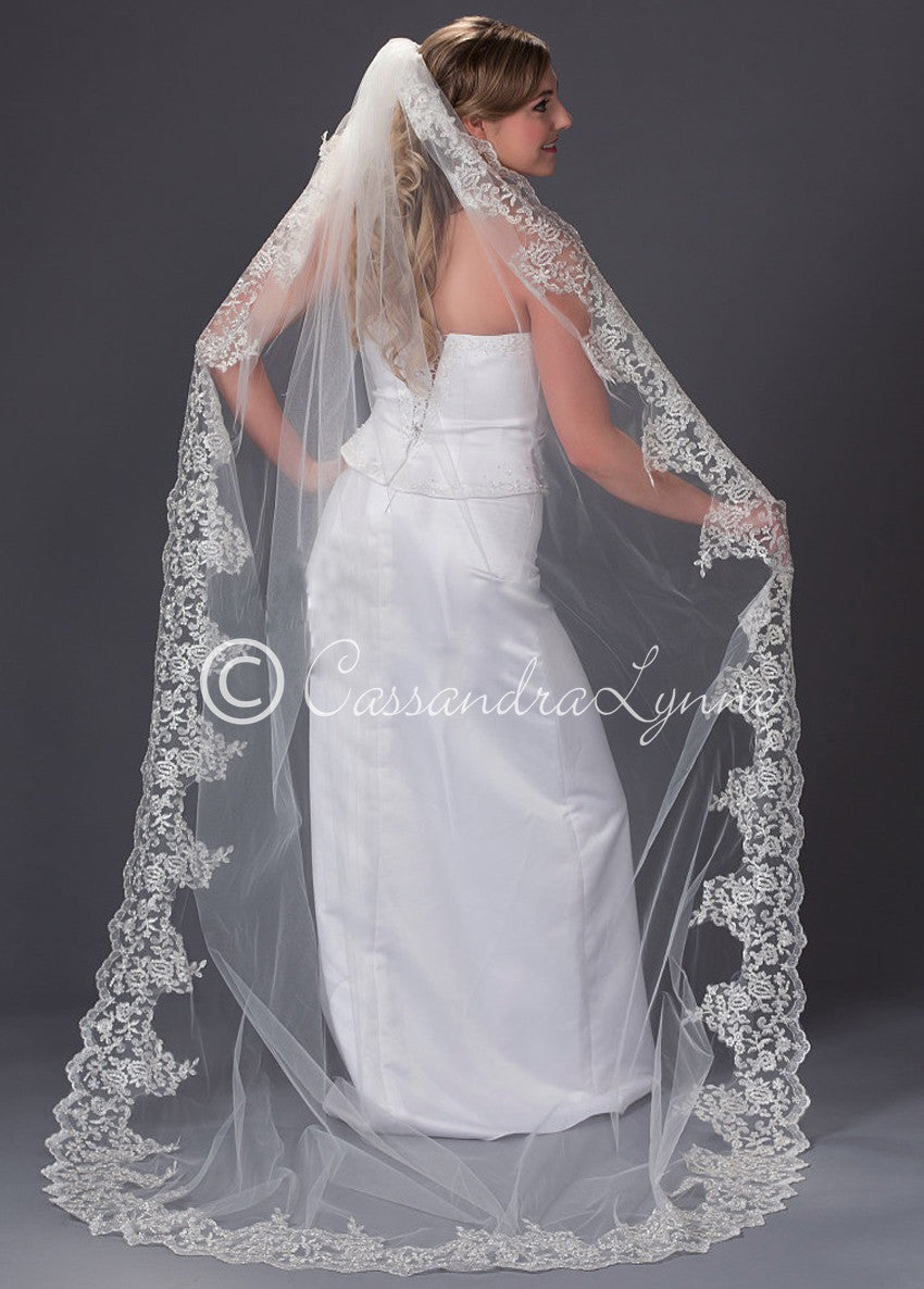 Wedding Veil with Wide Lace Trim Chapel Length