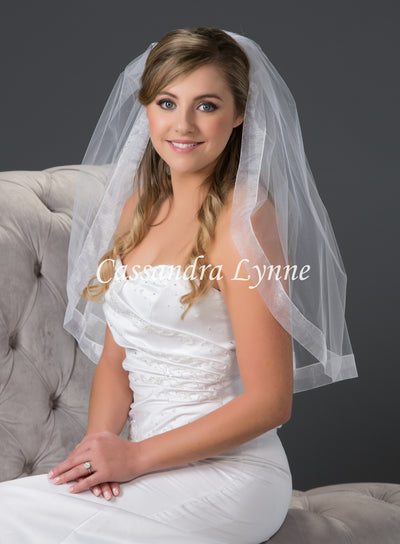 Elbow Length Wedding Veil with Wide Sheer Organza Ribbon Trim