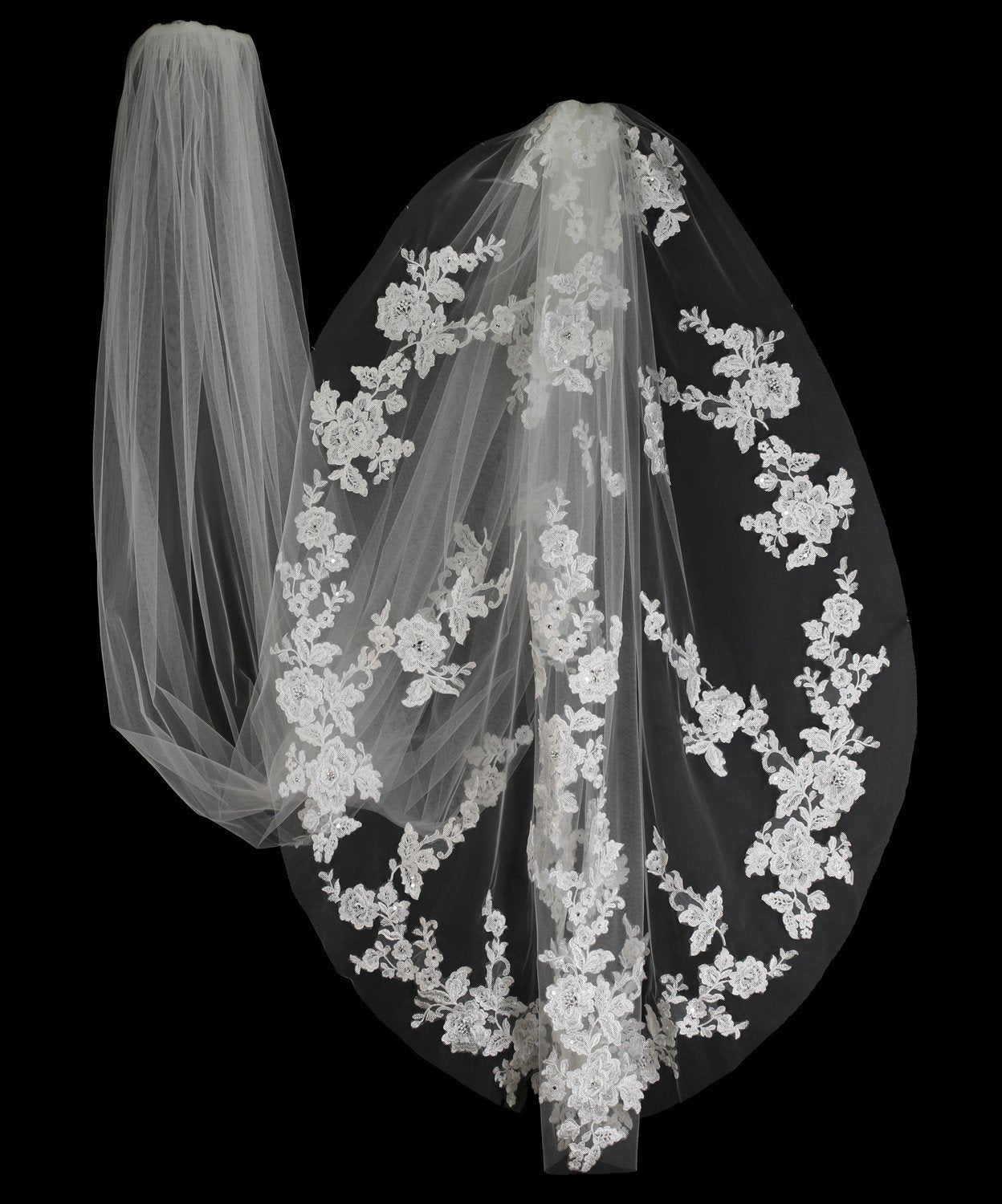 Ivory Royal Lace Scatter Wedding Veil with Pearls